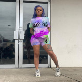 Tie Dye Print T Shirt Shorts Two Piece Sets LLF-8810