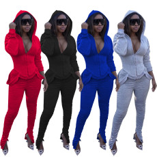 Solid Hooded Stacked Pants Two Piece Sets WZ-8324