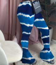 Tie Dye Print Sexy Tight Flared Pants YN-1036