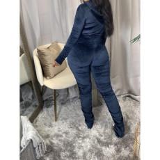 Plus Size Solid Zipper Ruched Two Piece Pants Set CQ-068
