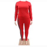 Plus Size 5XL Simple Casual Round Neck Top Home Sports Two Piece Set CYA-1293