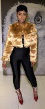 Faux Fur Sequin Lip Spliced Short Coat BN-9142-1