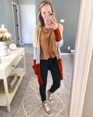 Contrast Color Knitted Pocket Sweater Cardigan Coat NY-060