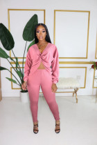 Solid Long Sleeve V Neck Two Piece Pants Set BLX-7527