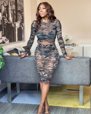 Camo Print Mesh See Though Two Piece Skirt Sets MK-3019