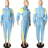 Tracksuit Patchwork Long Sleeve 2 Piece Sets LM-8194