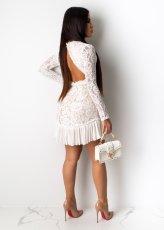 Sexy Backless Long Sleeve Lace Mini Dress OY-6223