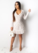 Sexy Backless Long Sleeve Lace Mini Dress OY-6223