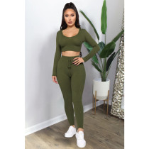 Solid Hooded Long Sleeve Tight Two Piece Sets ASL-6299