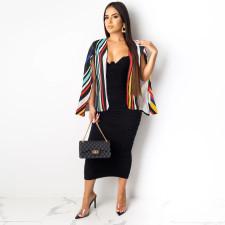 Fashion Contrast Striped Cloak Coat Top PN-6448