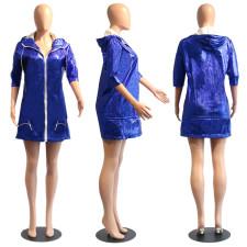 Casual Hooded Drawstring zipper Outwear PN-6447