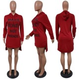 Plus Size Letter Print Split Hoodies Dress JH-188