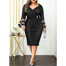 Plus Size 4XL V Neck Sashes Midi Dress CYA-1274