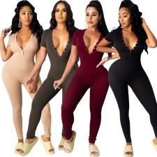Sexy Deep V Neck Short Sleeve Tight Jumpsuits CYA-8719
