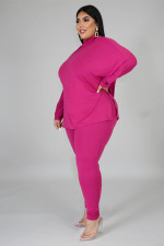 Plus Size 5XL Solid Turtleneck Long Sleeve 2 Piece Sets BMF-029
