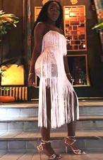 Plus Size 4XL Sexy Sequined Tassel Club Dress CYA-8227