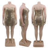 Plus Size 4XL Shiny Sequined Sexy Club Dress CYA-1275