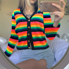 Colorful Striped V Neck Buttons Knitted Sweater Cardigan SH-3884