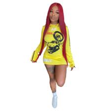 Casual Printed Long Sleeve Mini Dress YUF-9045