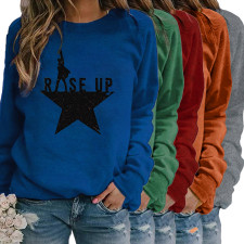Casual Printed O Neck Long Sleeve Pullover Tops MA-375