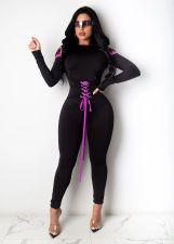 Sexy Lace Up Long Sleeve Skinny Jumpsuits SHA-6182