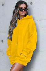 Casual Loose Long Sleeve Hoodies Dress OM-1170