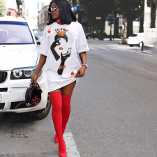 Short Sleeve Poker Q Print Casual T-shirt Dress XYF-9038