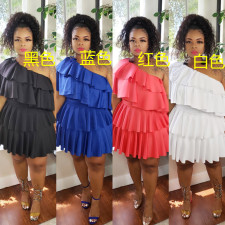 Plus Size 5XL One Shoulder Ruffled Pleated Mini Dress CYA-1294