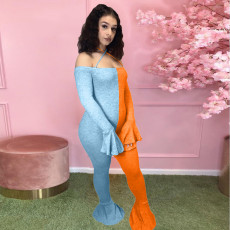 Contrast Color Backless Sexy Jumpsuits YSU-8048