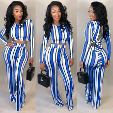 Plus Size Sexy Striped Open Back 2 Piece Pants Set OM-1171