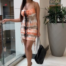 Sexy Printed Ruched Drawstring Lace Up Dress XYF-9028
