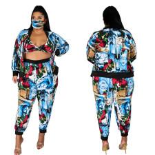 Plus Size 5XL Printed Bra Tops+Jacket+Pants+Mask 4 Piece Sets CYA-1297