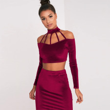 Plus Size 4XL Sexy Velvet Long Sleeve 2 Piece Skirt Sets CYA-1279