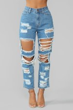 Fashion Straight-leg Ripped Hole Jeans LX-5001