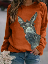 Casual Printed Long Sleeve Knitted Pullover Tops MA-374
