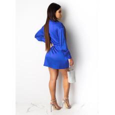 Sexy Solid V Neck Long Sleeve Shirt Dress SHE-7121