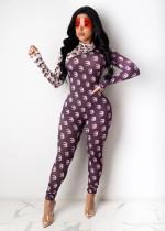 Sexy Printed Long Sleeve Tight Jumpsuits SHA-6181