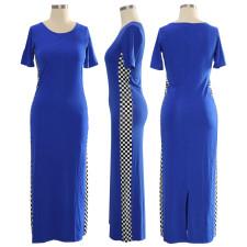Plaid Patchwork Short Sleeve Maxi Dress TE-4102