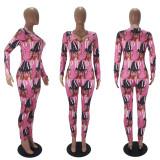 Casual Printed V Neck Long Sleeve Jumpsuits SHD-9443