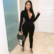 Sexy Long Sleeve Zipper Tight Jumpsuits Without Mask SMR-9732