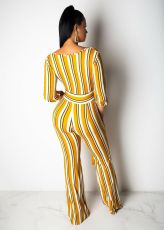 Sexy Striped V Neck Wide Leg Sashes Jumpsuits SMR-9722
