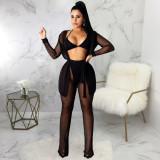 Sexy Mesh See Through Long Cloak And Pants Set SMR-9739
