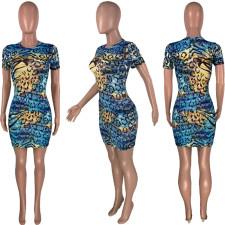 Sexy Leopard Print Short Sleeve Dress MSF-8020