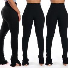 Solid Rib Mid Waist Split Skinny Pants SMR-9714