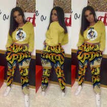 Casual Printed Hoodies Pants Two Piece Sets ABF-6617
