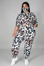 Plus Size 5XL Leopard Half Sleeve 2 Piece Sets Without Mask BMF-039