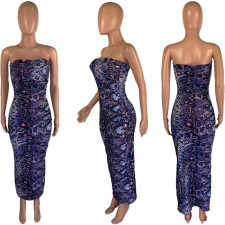 Snakeskin Sexy Breast Wrap Dress MSF-8015