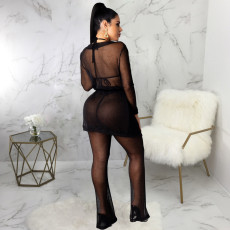 Sexy Mesh See Through Long Cloak And Pants Set SMR-9739