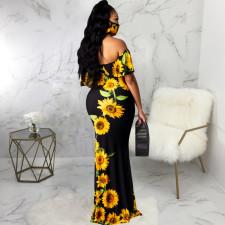 Sexy Printed Slash Neck Maxi Dress With Mask SMR-9720