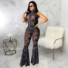Sexy Printed Bodysuit And Flared Pants 2 Piece Sets SMR-9740